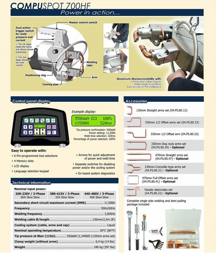 Compuspot 700HF Spot Welder Information and Specifications