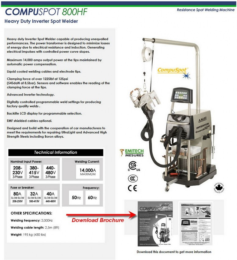compuspot 800hf spot welder Specifications