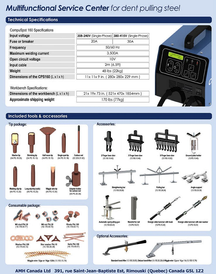 Compuspot 165 Steel Dent Repair Workstation Specifications