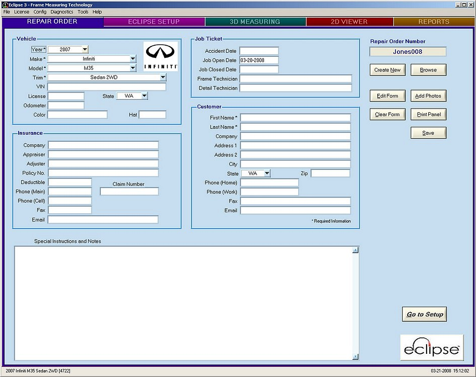 Eclipse Data Entry Screen