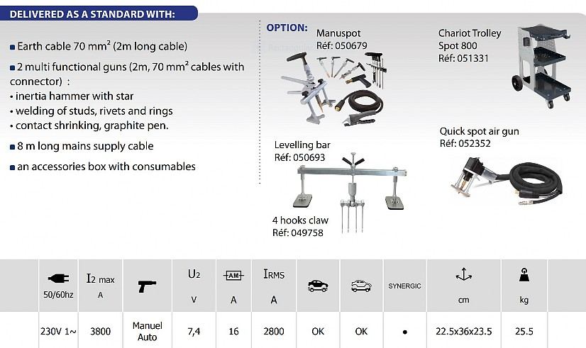 GYSPOT PRO 230 Dent Puller Specifications and Options
