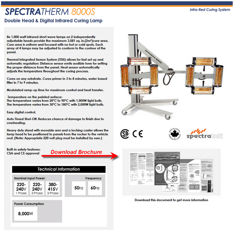 Spectratek 8000SD Paint Curing Heat Lamp