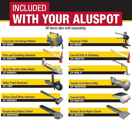 Accessories included with Dent Fix Aluspot Workstation