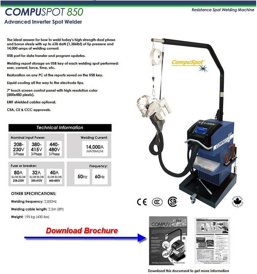 Compuspot 850 Spot Welder - Pro Line Systems International