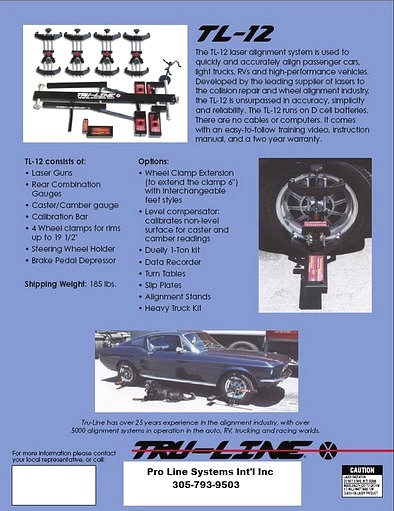 Tru-Line Wheel Alignment Specifications Brochure page 2